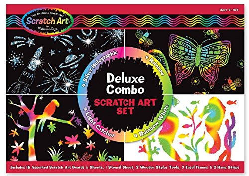 Melissa & Doug Deluxe Combo Scratch Art Set: 16 Boards, 2 Stylus Tools, 3 Frames (Deluxe Art)