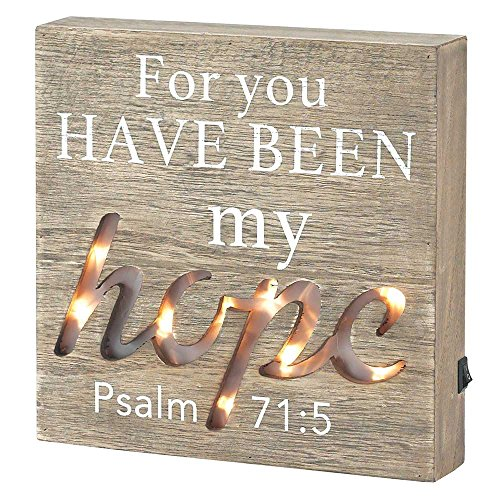 Dicksons My Hope Psalm 71:5 LED Light-up Weathered Wood 3.5 x 8 Wood Table Top Sign Plaque