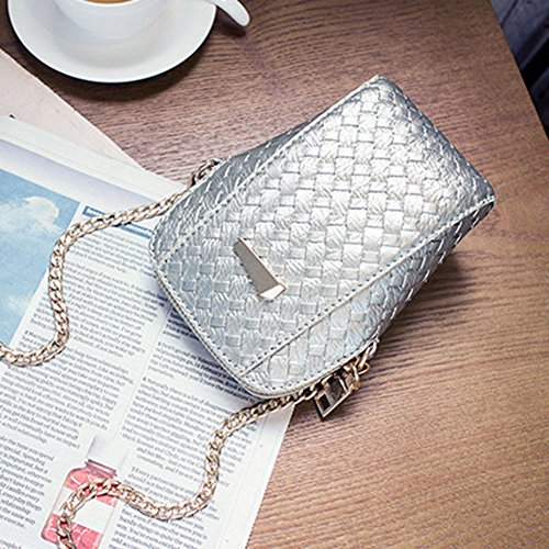 Bandoulière Crossbody en Mini Bandoulière à Cabina PU Fille Cuir Sac Tissage Bag Argent La Sac Sac d'épaule Femmes Mode nWqFv4qpZI
