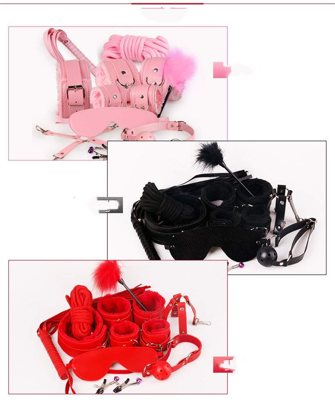 JOYIYUAN 10 Unids/Set Bondage Sex Esposas Set Lencería Sexy Esposas Sex de Cuero para Parejas (Color : Black) 811877