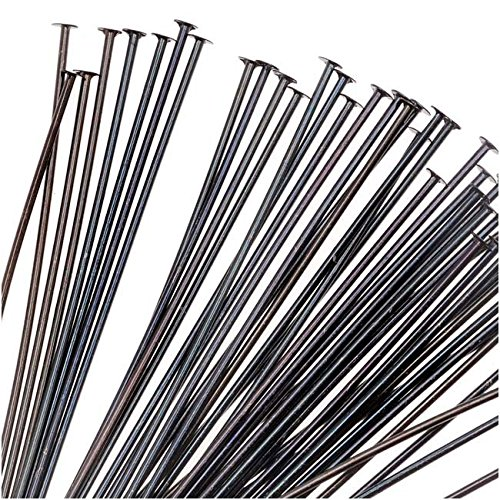 Plated Brass Head Pins - TierraCast Black Plated Brass Head Pins 2 Inches / 21 Gauge (x50)