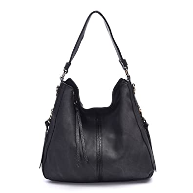 d6e2aaae4f51 DDDH Hobo Handbags Leather Purses Large Tote Shoulder Bags Vintage Bucket  Bag For Women(Black2