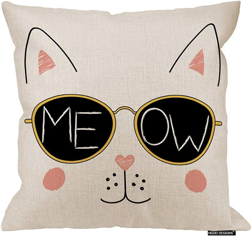Cat Pillow Case Funny Cat Face In Sunglasses Meow Written Inside The Lenses Sofa Couch Desk Chair Bedroom Amazon Co Uk Kitchen Home