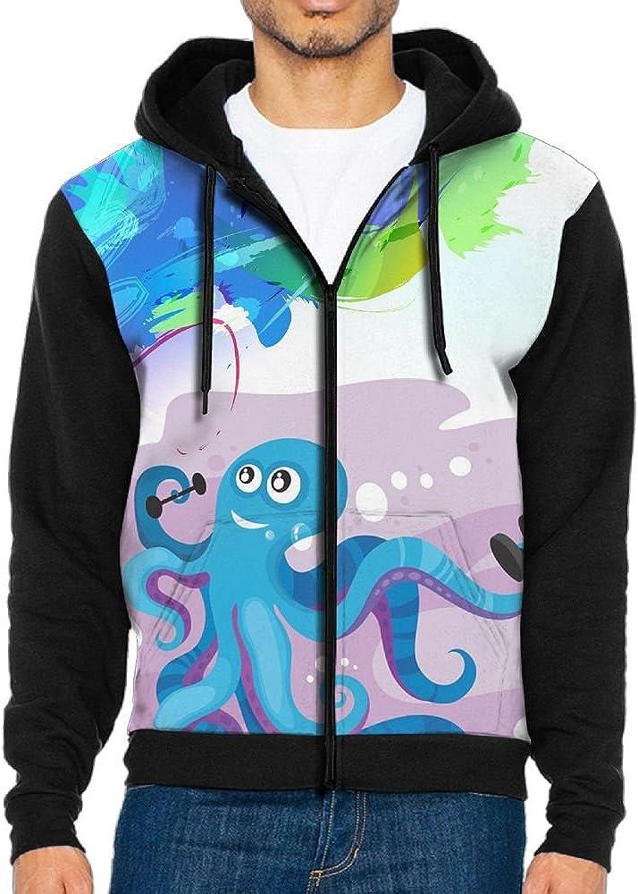 ZPENG Full Zipper Hoodies Blue Octopus Printed Athletic Hooded Sweatshirt With Pocket For Men