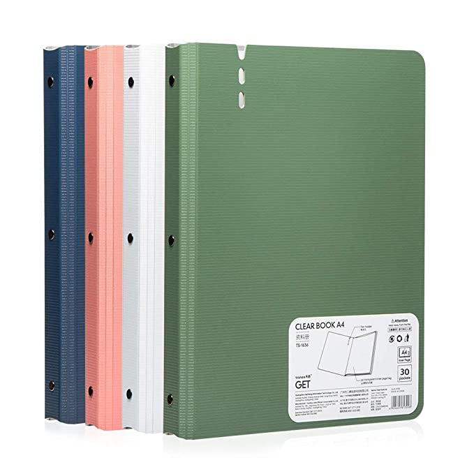 30 Pocket Bound Sheet Protector Presentation Book,60 Page Capacity Display Book, For A4 Size 8.5 X 11 Inch Inserts, 4 Color Pack by Tianse