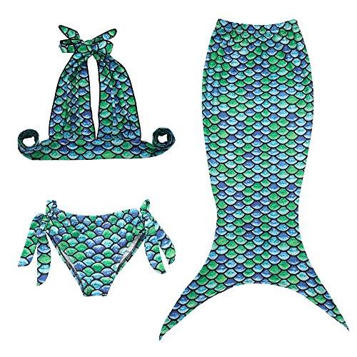 JFEELE Kids Little Girls 2 Piece Swimsuit with Mermaid Tail Swimwear Bikini Set - 7-8T,Green