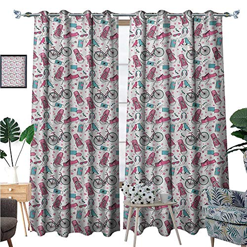 Bicycle Waterproof Window Curtain Teenager Girls Hipster Pink Casual Shoes Bicycle Birds Headphones Glasses Camera Blackout Draperies for Bedroom W96 x L84 Multicolor (Shoes T-mac Basketball)