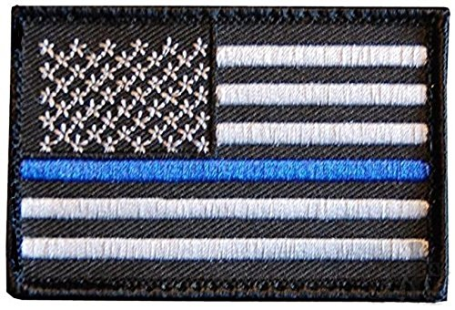 Tactical Police Officer Law Enforcement Thin Blue Line United States Flag Velcro Uniform Gear Patch (Hat Mountie Hat)