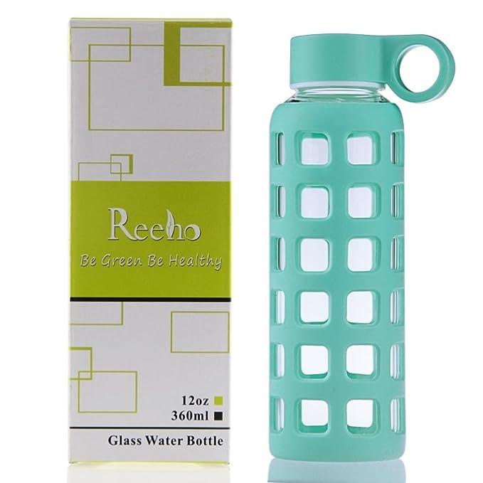 Reeho® Deportes Borosilicato Botella de Agua de Vidrio con Silicona Manga [Libre de BPA] (Cielo Azul, 360ml): Amazon.es: Deportes y aire libre