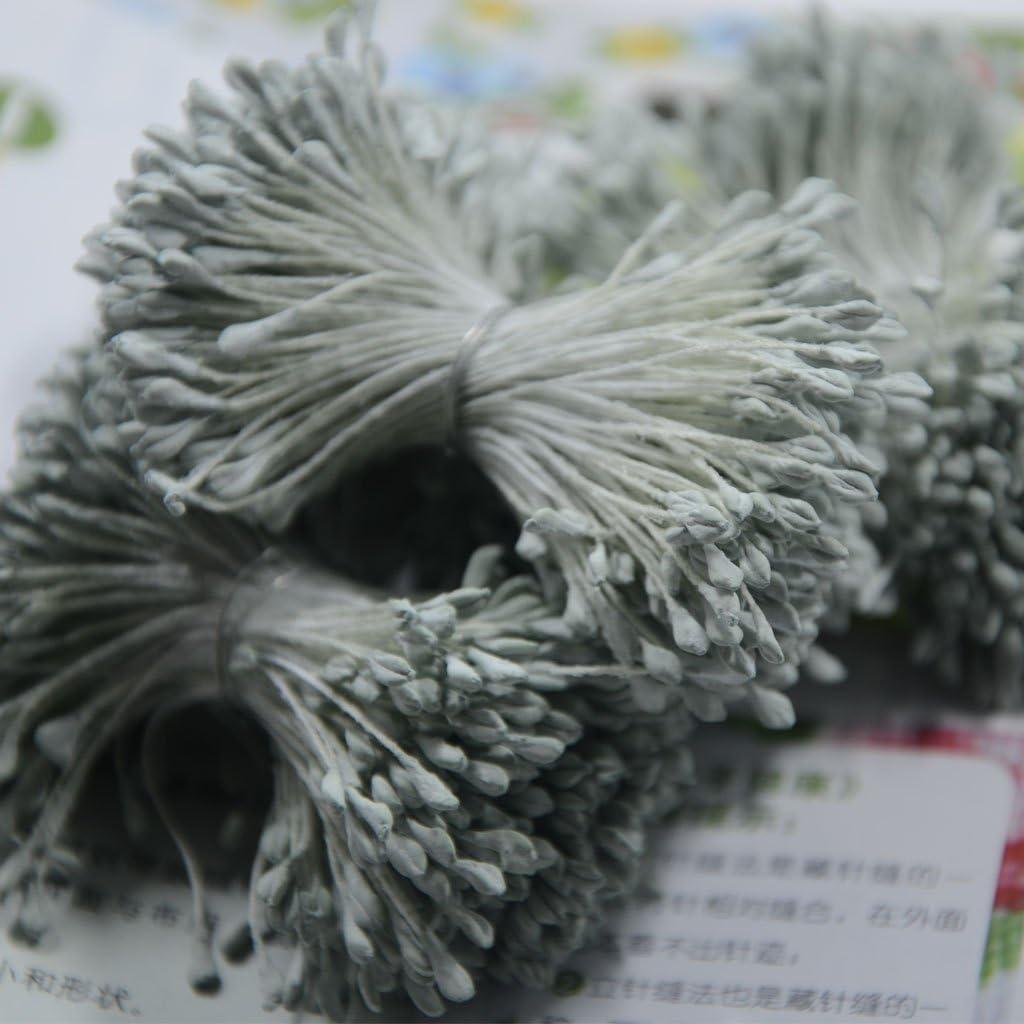 Gazechimp 360 Piezas 6cm Cabeza Perla Artificial Estambre Pistilo Accesorio de Decoracion de Boda verde