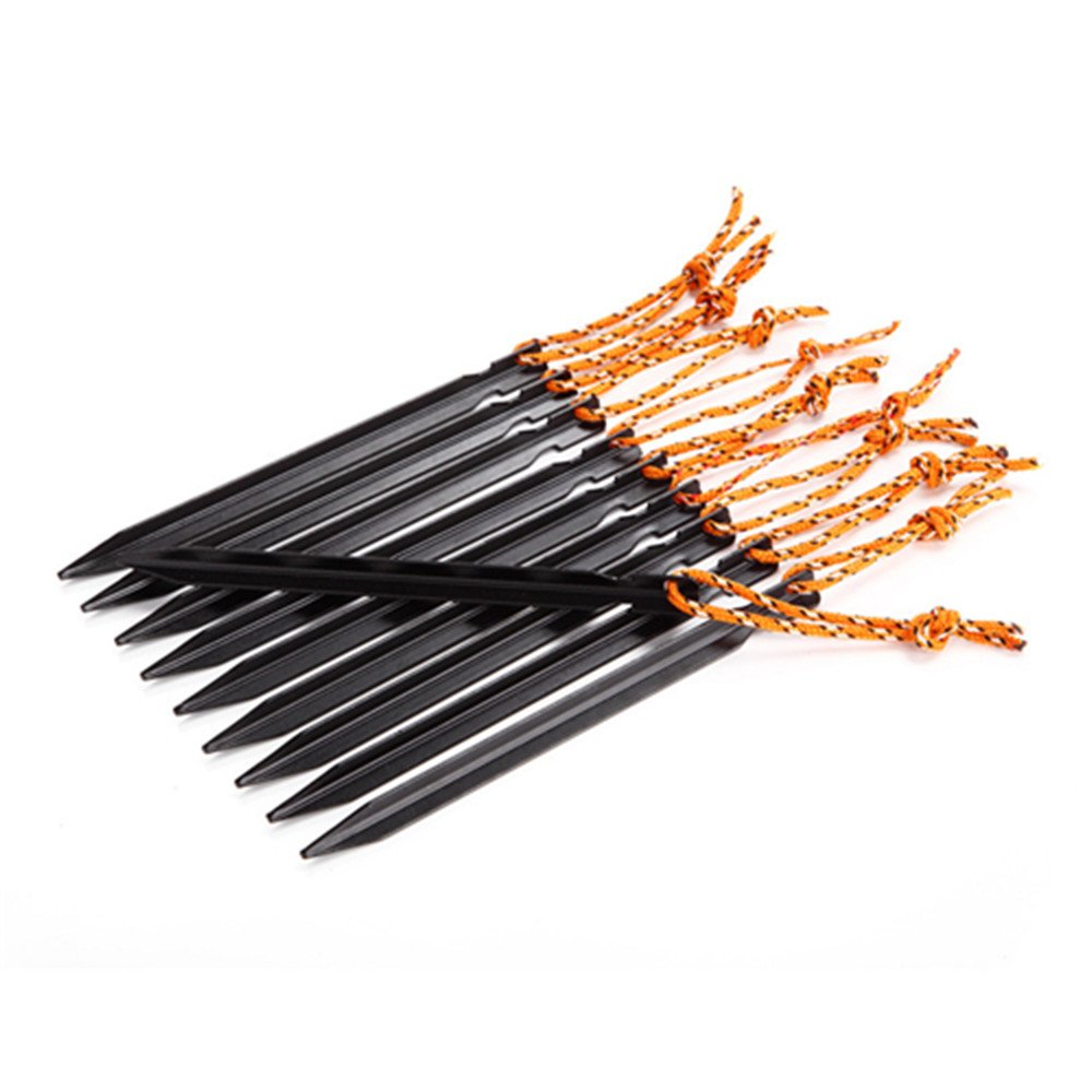 TechCode Tent Camping Pegs 10pcs, 7 inches (18cm) Ultralight Aluminum Alloy Tent Nail/Tent Stake with reflective Rope with Bag for Camping, Beach, Outdoor or More(Black)