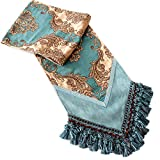 Yoovi Luxury Jacquard Table Runner Paisley with Multi Tassels for Bedroom and Living Room, Teal Blue / Gold (13''W x 86''L)
