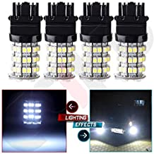 CCIYU Qty(4) Car RV Trailer Xenon White 3157 60-3528-SMD LED Light bulbs 3057 3457 4157 Tail Brake Front and Rear Side Marker Light for 2014-2015 Jeep Patriot