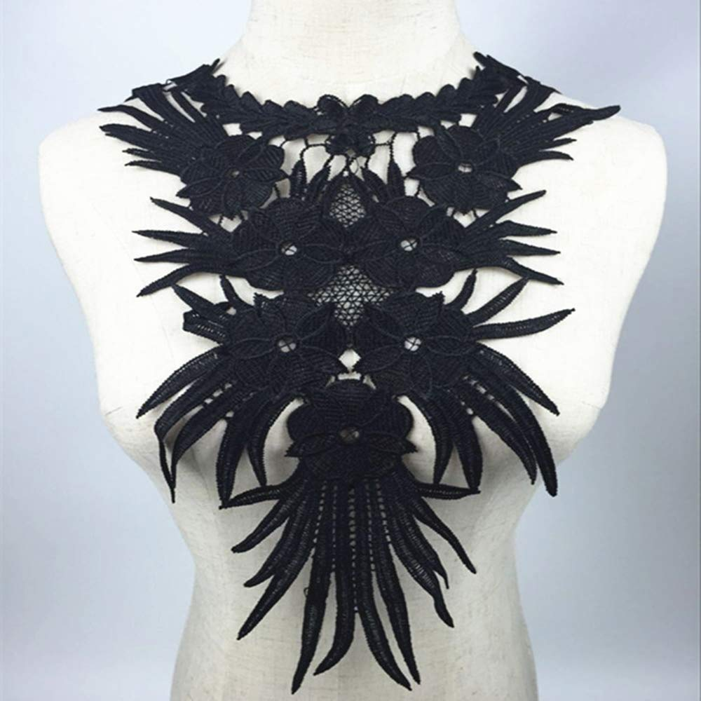 Potelin Premium Quality 1Pc Embroidered Floral Lace Neckline Trim Clothes Sewing Applique Neck Collar Black