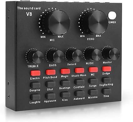 V GEBY V8 Black Metal Shell Audio Mixer External Sound Card Audio Adapter Stereo Sound Card Portable Live Sound Card Mobile Phone Live Broadcast