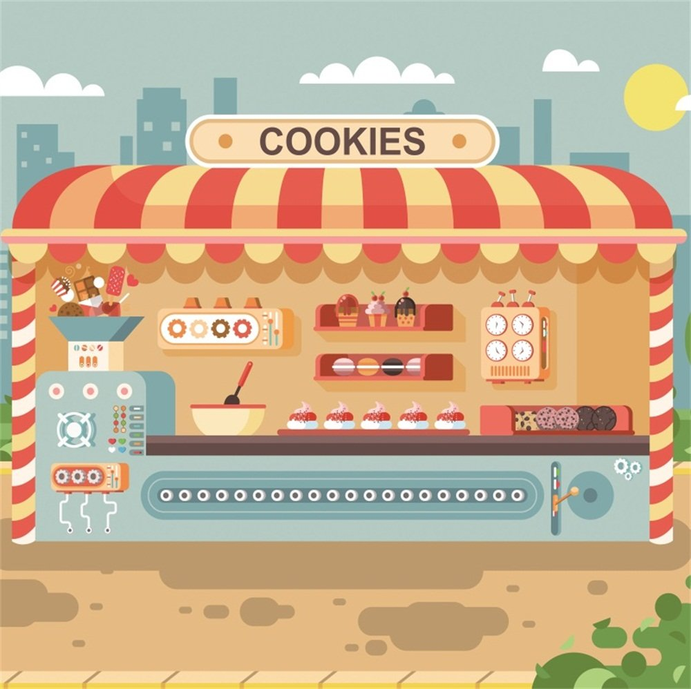 lfeey 5 x 5ftポリエステルキッズ子供誕生日パーティーの写真の背景壁紙漫画Cookie ShopマフィンカップケーキケーキPastries Sweets Stall写真背景写真Studio Props no Wrinkle   B07F7TJPFP
