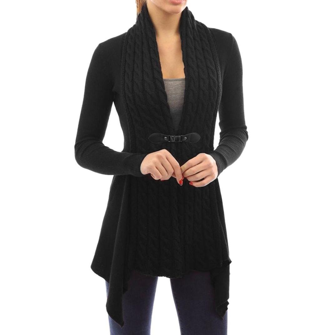 LUQUAN Women Elegant Knitted Tops Irregular Splicing Jumper Cardigan Sweater Small,Black