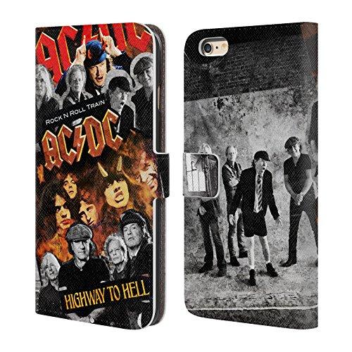 Officiel AC/DC ACDC Groupe Collage Étui Coque De Livre En Cuir Pour Apple iPhone 6 Plus / 6s Plus