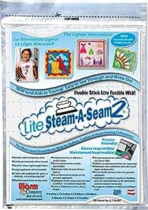 "Warm Company Steam-A-Seam Lite 2 Double Stick Fusible Web 9""X12"" Sheets 5/Pkg"