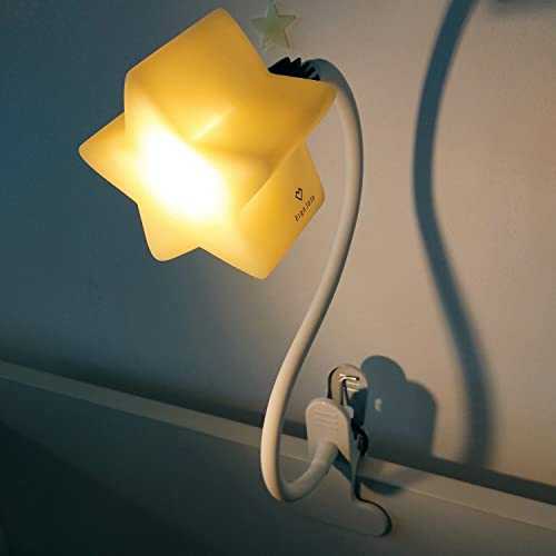 Ergojojo clip on LED Star night light/ reading light for babies, kids and adults, sturdy flexible gooseneck, dimmable with 4 brightness levels, USB powered, suitable as a desk reading lamp, bed headboard and more. Warm Light.