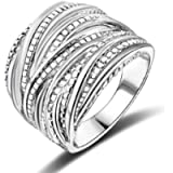 Mytys 2 Tone Intertwined Crossover Statement Ring Fashion Chunky Band Rings for Women Men