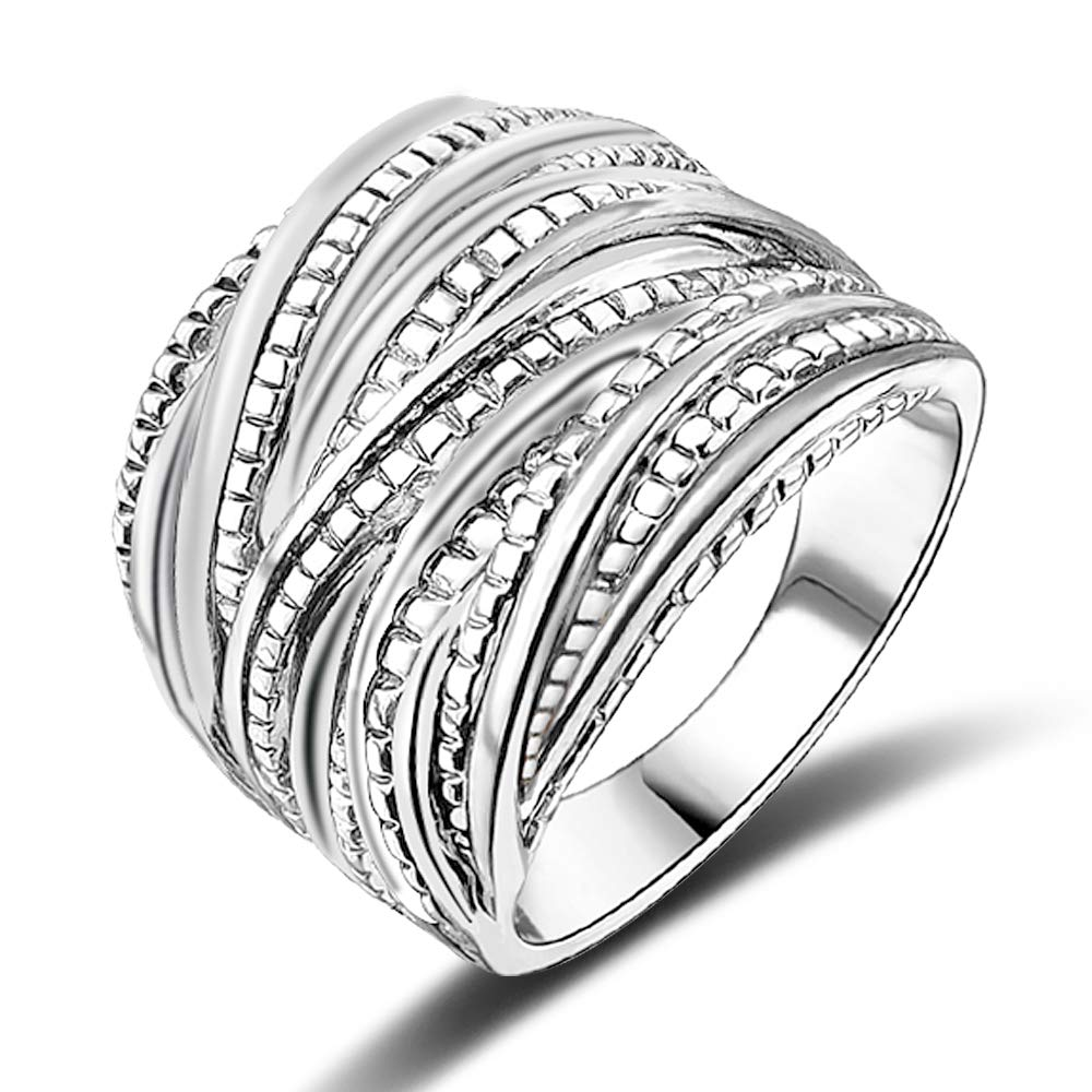 Mytys Fashion Silver Intertwined Statement Ring Band Rings for Women Men 18mm Wide (8) by Mytys