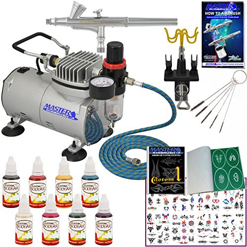 Professional Master Airbrush Temporary Tattoo Gravity Feed Airbrushing System Kit - 8 Color Temporary Tattoo Airbrush Paint Set and 100 Stencils, Reusable Self-Adhesive Designs by Custom Body Art