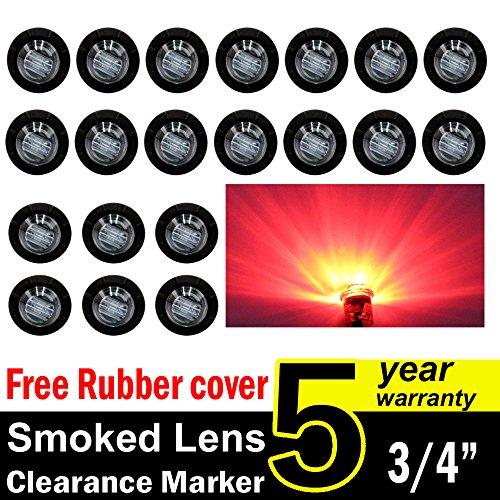 ( Pack of 20 ) TMH 3/4 Inch Mount Smoked Lens RED LED Clearance Bullet Marker lights, Side LED marker lights for trailer Truck RV Car Bus Van