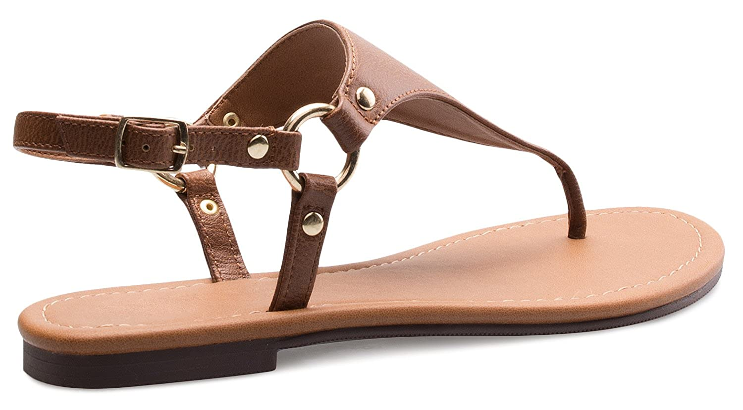 OLIVIA K Women's Thong Casual Thong Women's Flats Flip Flop Sandals with Cut Out Upper - Comfort, Easy on-Off Slide B073RTJYMD 6.5 B(M) US Tan Ring dddbd7