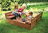 Badger Basket Covered Convertible Cedar Sandbox with Two Bench Seats, Natural