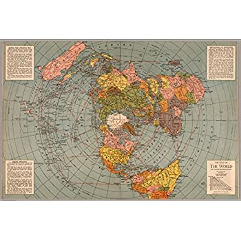 Amazon flat earth map gleasons new standard map of the world map poster map of the world polar azimuthal equidistant projection 24x165 gumiabroncs Images