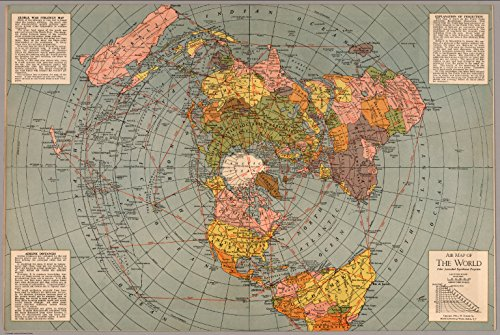 Map Poster – Map of The World, Polar Azimuthal Equidistant Projection – 24 x16.5
