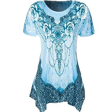 Longra Damen Rundhals Tunika Falten T-Shirt Stretch Kurzarm Shirt Sommer Top  Frauen Henley Shirt 5c9d6a861f