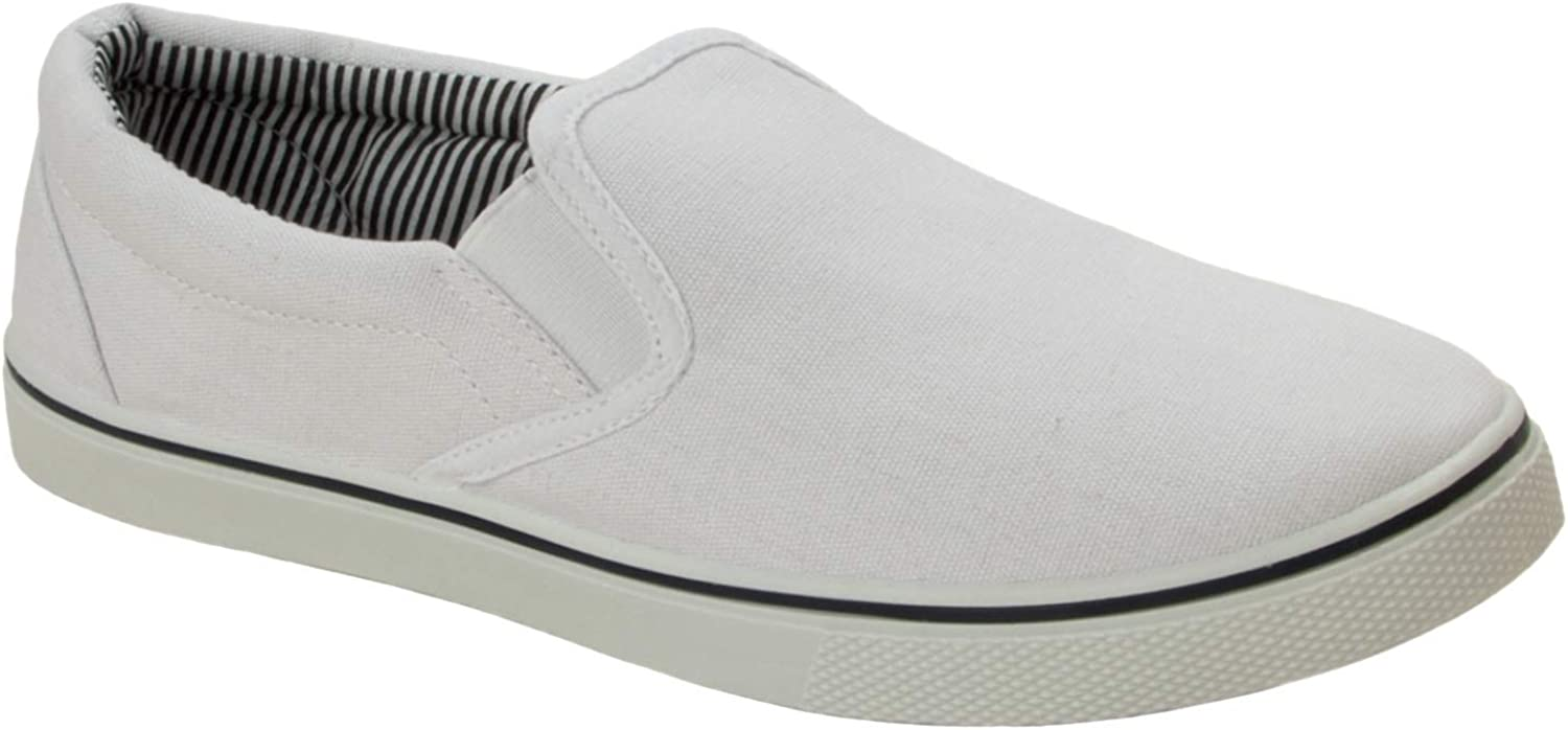 Mens White Casual Slip ON Canvas
