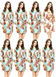 Floral Satin Bridesmaids Robes 7 Mint 1 White Wedding Bride by Endless Envy