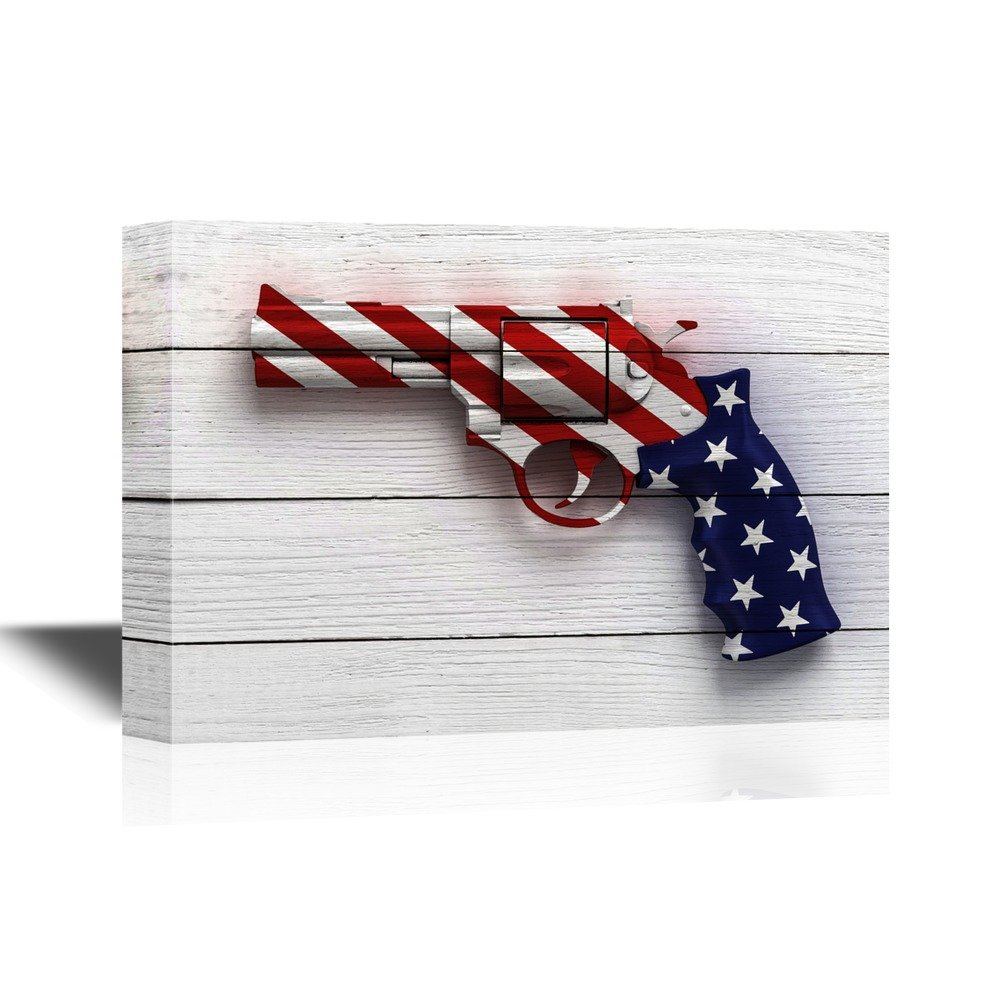 28d26133fcc Details about wall26 - Canvas Wall Art - Gun with the American Flag Pattern  - 16x24 inches