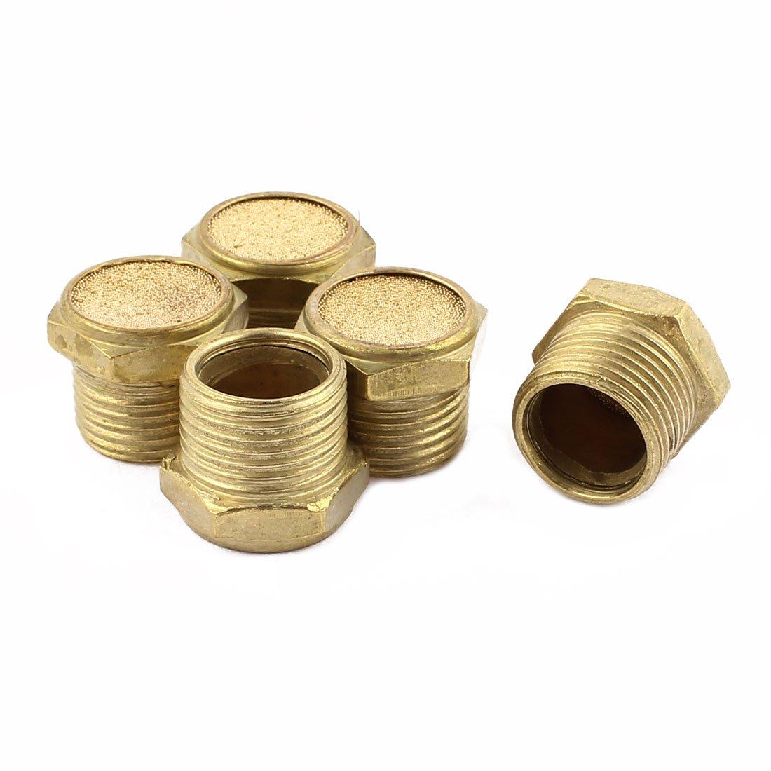 sourcingmap/® 1//8BSP Thread Brass Pneumatic Air Exhaust Silencer Muffler 5pcs