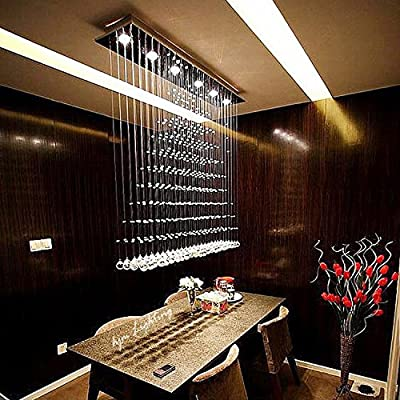 "7PM H39"" x W25'' Modern Chandelier Rain Drop Lighting Crystal Ball Fixture Pendant Ceiling Lamp for Dining Room Over Table"