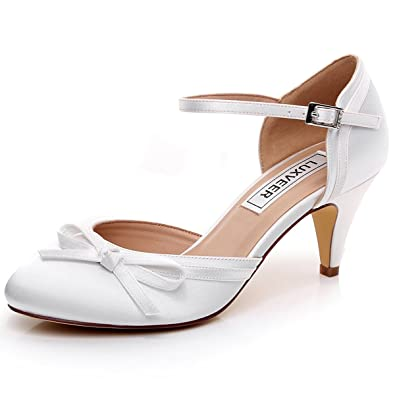 145a2883de5 LUXVEER Ivory Wedding Sandals with Bowknot 2 inch Heels