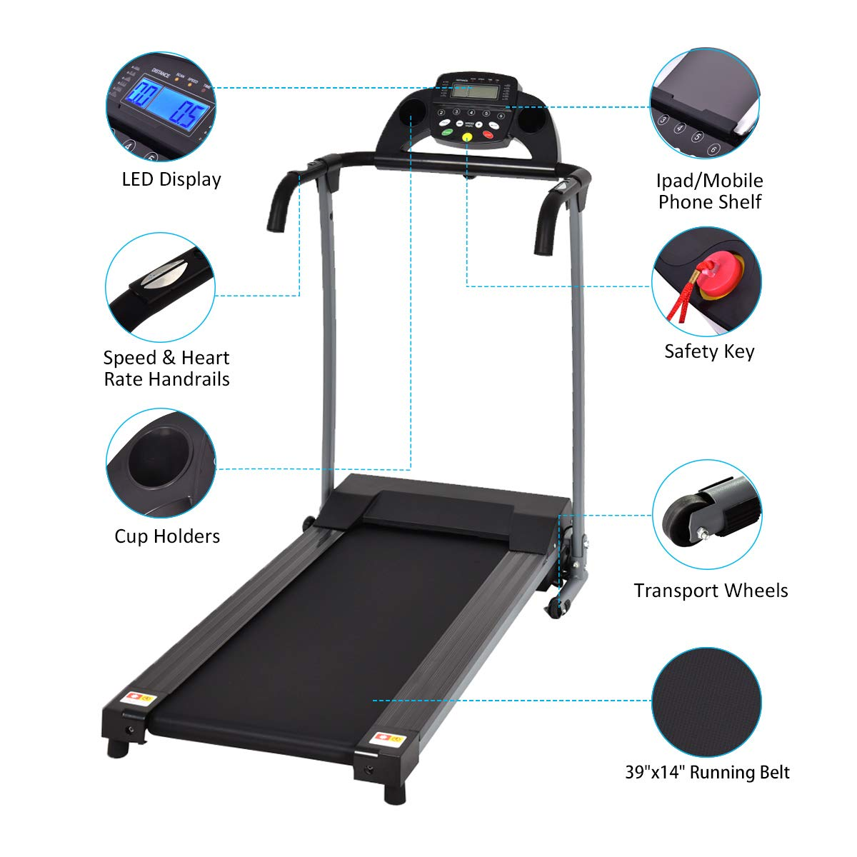 Goplus 800W Folding Treadmill Electric Motorized Power Fitness Running Machine with LED Display and Mobile Phone Holder Perfect for Home Use (Black) by Goplus (Image #3)