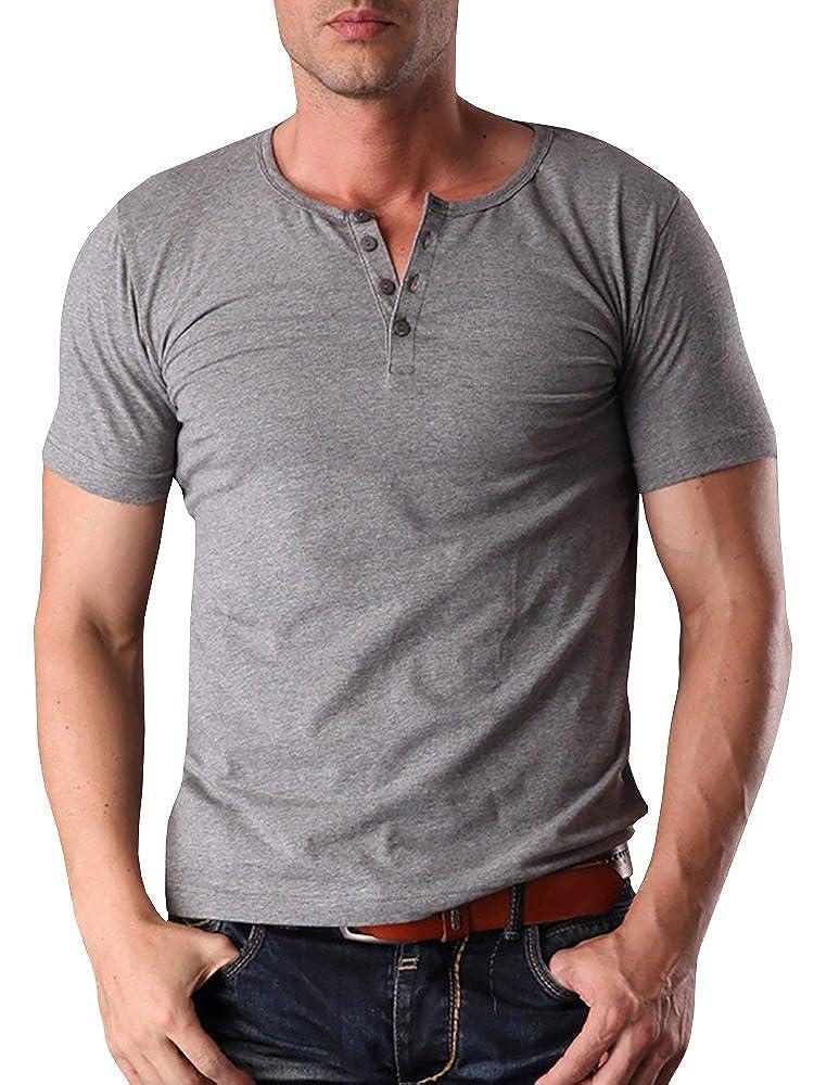Henstenve Mens Short Sleeve Casual Slim Fit Basic Button Henley Shirt Hestenve