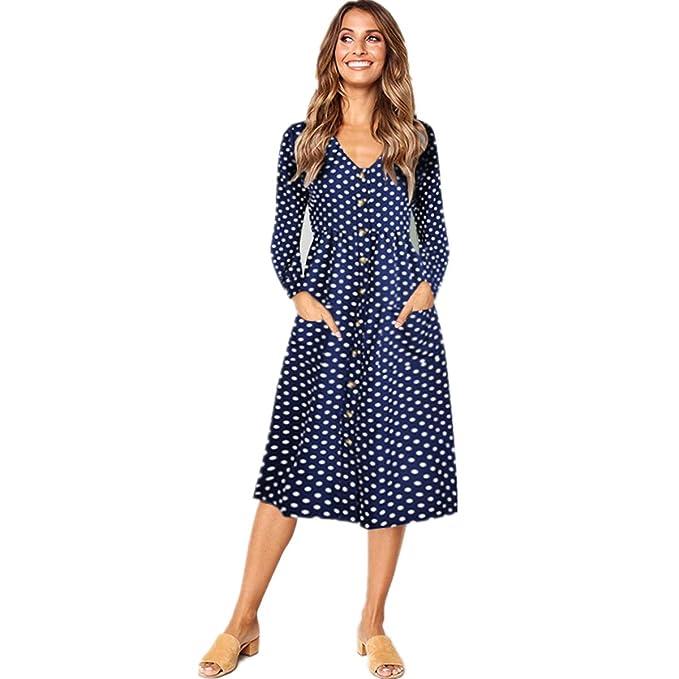 d9c7a0390f48 Popshion Women Casual Midi Dress Long Sleeve Dresses for Women Midi Skater  Dress  Amazon.co.uk  Clothing