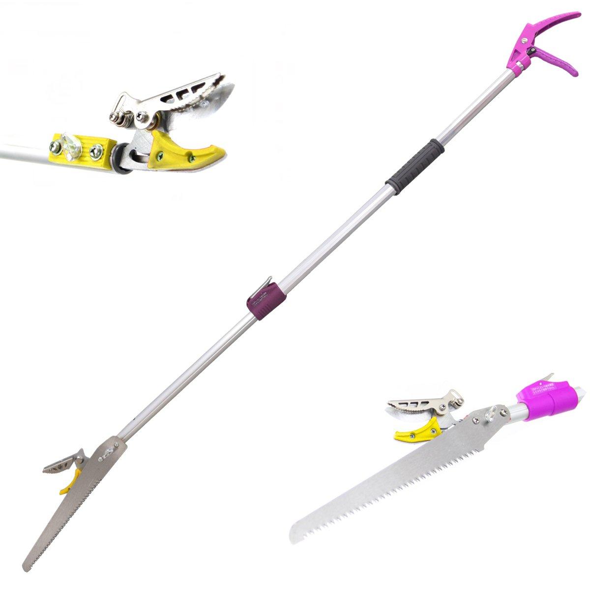 DCM Telescoping Cut and Hold Long Reach Bypass Garden Pruner, Pole Saw, Extendable saw, Fruit Picker Harvester, Gardening Shear (6-10 Feet Telescoping)