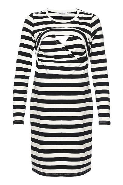 59746197c1b GHO Womens Maternity Nursing Dress Layered Breastfeeding Casual Short  Sleeve Clothing (Small, Black Stripes