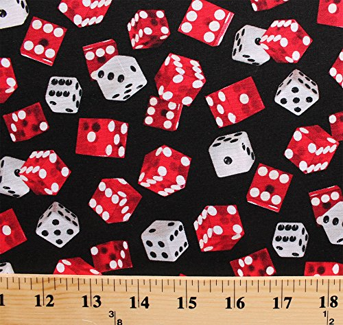 Cotton Game of Chance Red White Dice Die Black Cotton Fabric Print by the Yard (Dice Print)
