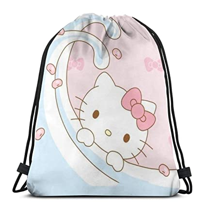 b85c81537 Image Unavailable. Image not available for. Color: MPJTJGWZ Classic  Drawstring Bag-Surfing Hello Kitty Gym Backpack Shoulder Bags Sport Storage  ...