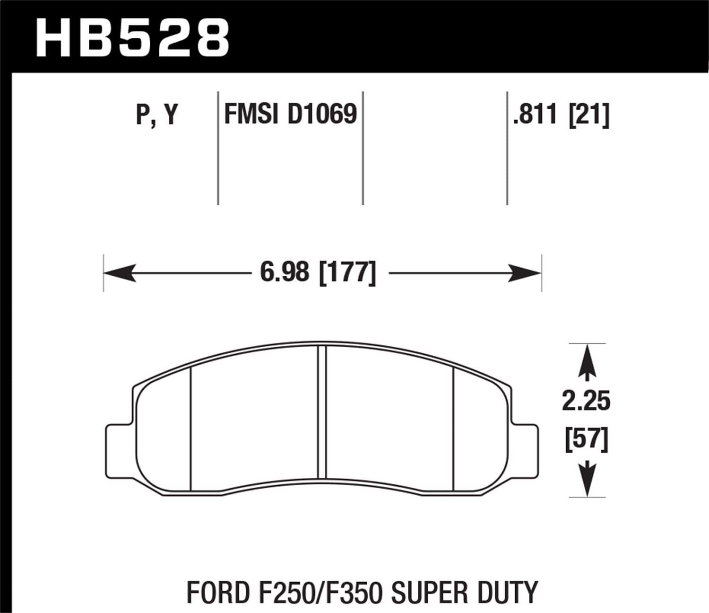 Hawk SuperDuty Brake Pads Front For HB528P.811 F-250 Super Duty Pickup F-350