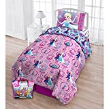TN 4 Piece Girls Purple Frozen Toddler Bedding, Princess Toddler Comforter Set Disney Princess Elsa Toddler Set Anna Disney Movie Character Floral Frost Reversible Blue Multi Colored, Polyester