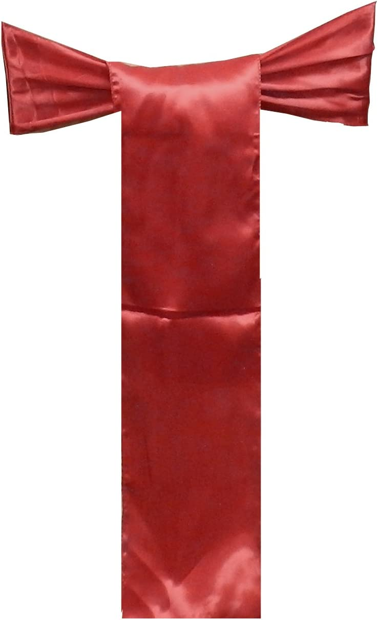 Elina Home Pack of 10 Satin Chair Cover Bow Sash Wedding Banquet Decoration (10, Apple RED)