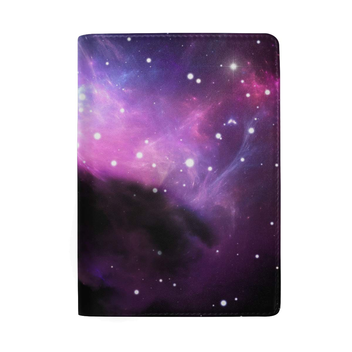 Space Purple Nebula Stars Leather Passport Holder Cover Case Protector for Men Women Travel with Slots